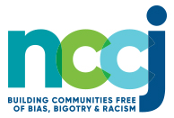 "Logo of NCCJ in bluish-green colors stating ""Building Communities Free of Bias, Bigotry & Racism"""