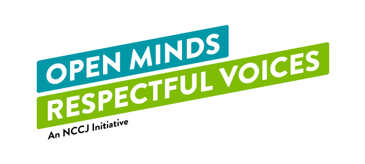 """Logo of rectangular bluish-green boxes with white font stating, """"Open Minds Respectful Voices."""""""