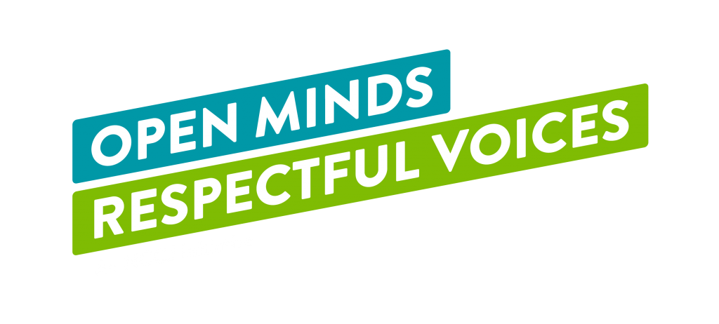 """Logo of rectangular bluish-green boxes with white font stating, """"Open Minds Respectful Voices""""."""