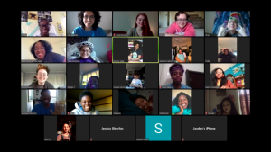 A zoom video meeting with a group of multiethnic students smiling and conversing in multiple frames.
