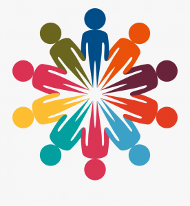 An image of outlined cartoon individuals of different colors organized in a circle holding hands.