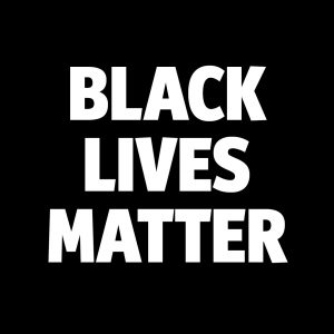 A black background with white text that states Black Lives Matter.