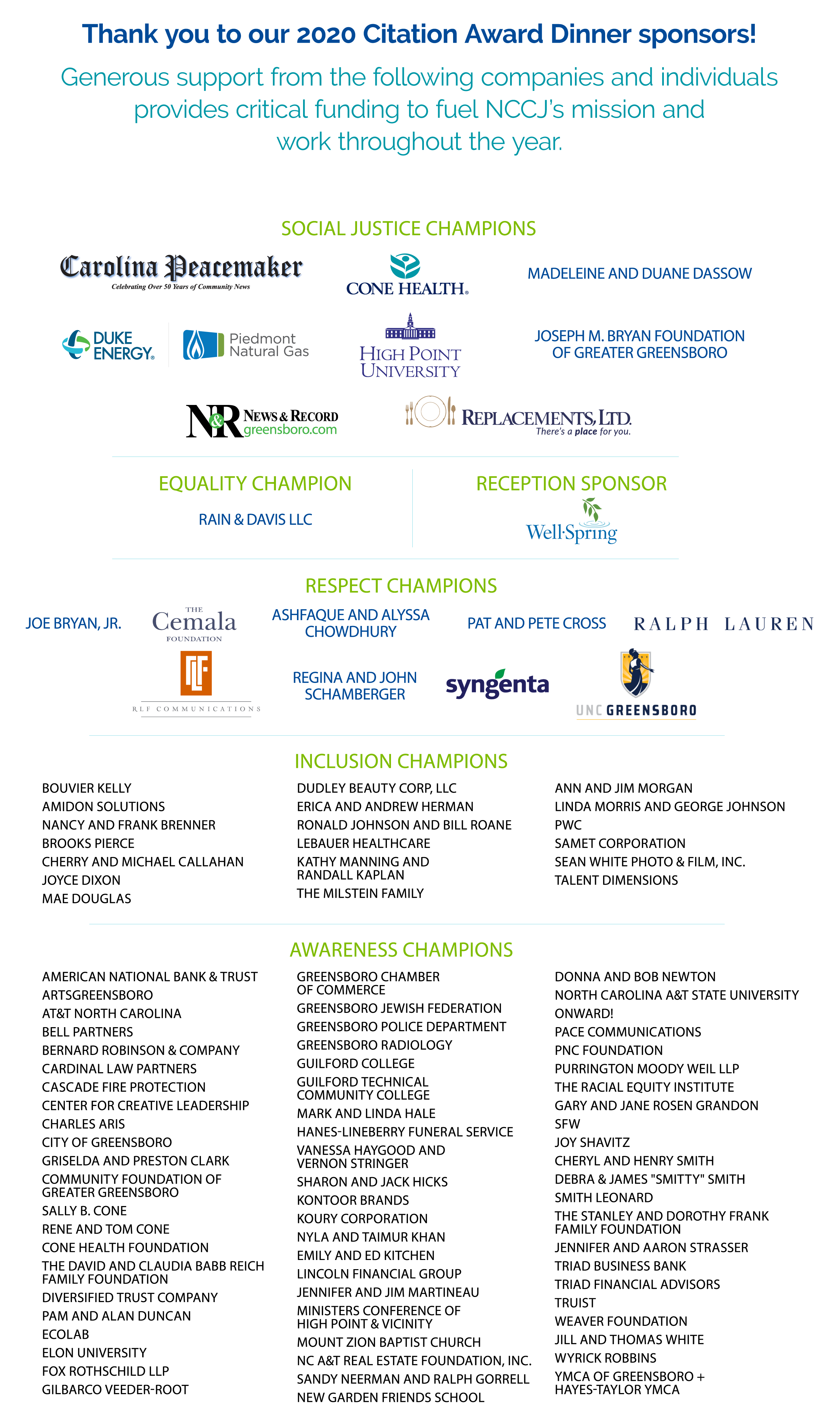 """An Infographic with a white background that says, """"Thank you to our 2020 Citation Award Dinner sponsors!"""""""