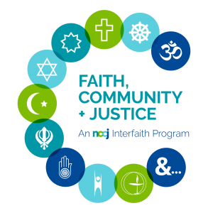 """A checkered background with bluish-green religious icons and text that state, """"Faith, Community + Justice: An NCCJ Interfaith Program."""""""