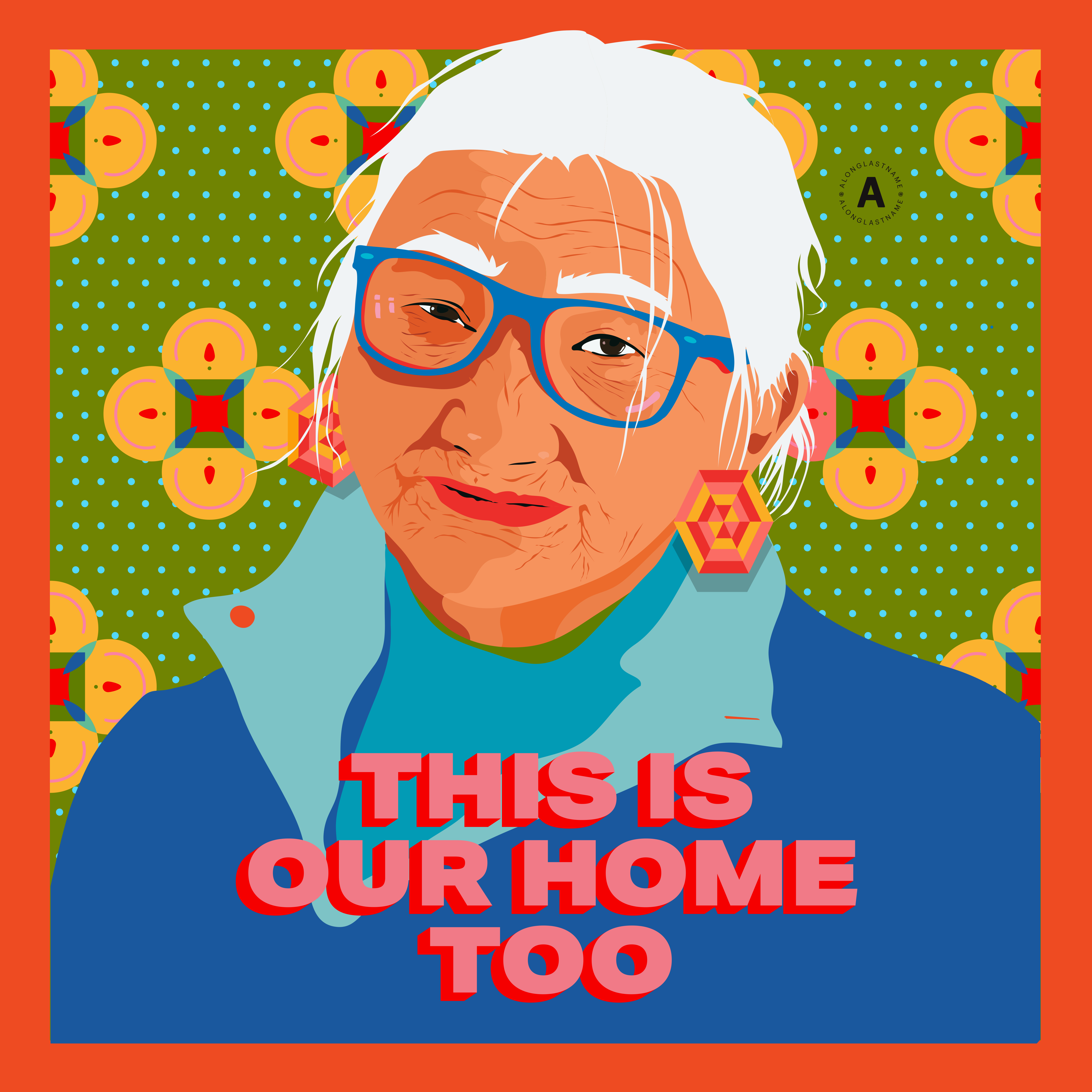A green background with light blue polka dots and yellow flowers with an orange border. An Asian American woman is in the center in a blue shirt and glasses, smiling with white hair. The text below states,