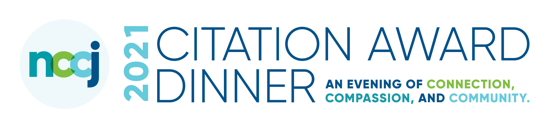 """Image of NCCJ's logo presenting, """"2020 Citation Award Dinner: An evening of connection, compassion, and community."""""""